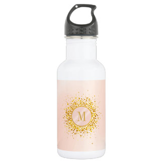Confetti Monogram Rose Gold Foil ID445 532 Ml Water Bottle