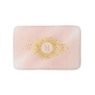 Confetti Monogram Rose Gold Foil ID445 Bath Mat
