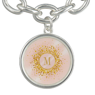 Confetti Monogram Rose Gold Foil ID445 Bracelet