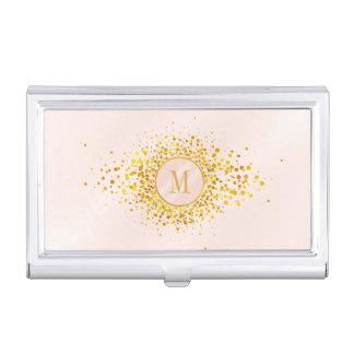 Confetti Monogram Rose Gold Foil ID445 Business Card Holder