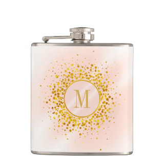 Confetti Monogram Rose Gold Foil ID445 Hip Flask