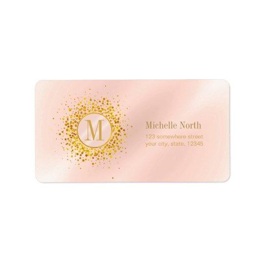 Confetti Monogram Rose Gold Foil ID445 Label