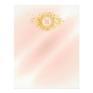 Confetti Monogram Rose Gold Foil ID445 Letterhead