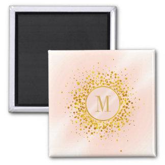 Confetti Monogram Rose Gold Foil ID445 Magnet