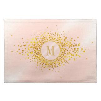 Confetti Monogram Rose Gold Foil ID445 Placemat