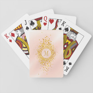 Confetti Monogram Rose Gold Foil ID445 Playing Cards