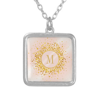 Confetti Monogram Rose Gold Foil ID445 Silver Plated Necklace