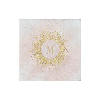 Confetti Monogram Rose Gold Foil ID445 Stone Magnets