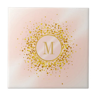 Confetti Monogram Rose Gold Foil ID445 Tile