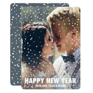 Confetti Overlay Happy New Year Holiday Card