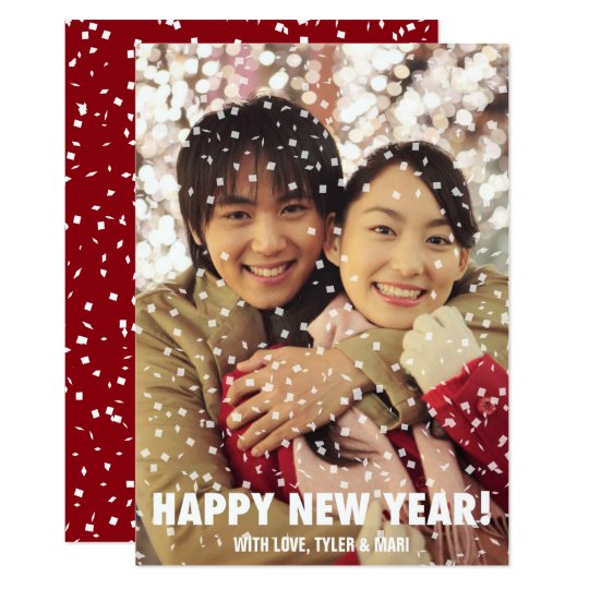 Confetti Overlay Happy New Year Holiday Vertical Card