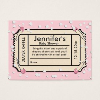 Confetti Pink Baby Shower Diaper Raffle Ticket
