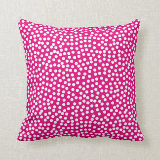Confetti Polka Dot Pattern Hot Pink Throw Pillow