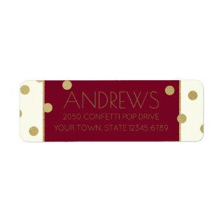 Confetti Pop Burgundy and Gold Address