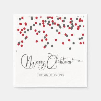 Confetti red & gray Merry Christmas napkins Paper Napkin