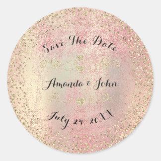 Confetti Rose Gold Glitter Save the Date Peach Pin Round Sticker