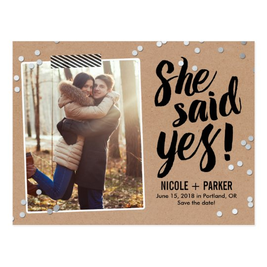 Confetti She Said Yes Save The Date Postcard