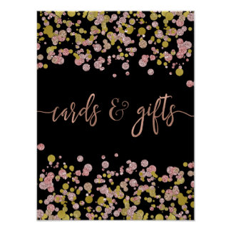 Confetti Sparkle Rose Gold Wedding Cards & Gifts Poster