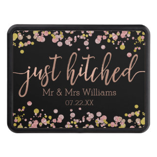 Confetti Sparkle Rose Gold Wedding Just Hitched Trailer Hitch Cover