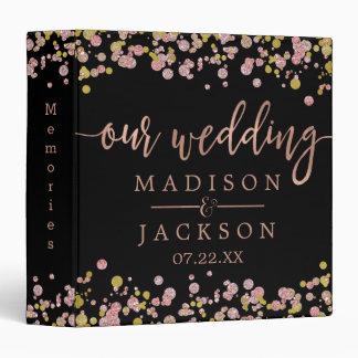 Confetti Sparkle Rose Gold Wedding Photo Album 3 Ring Binder
