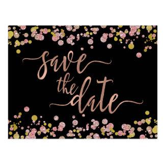 Confetti Sparkle Rose Gold Wedding Save the Date Postcard
