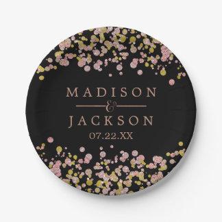 Confetti Sparkle Shine Rose Gold Wedding Monogram 7 Inch Paper Plate
