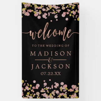 Confetti Sparkle Shine Rose Gold Wedding Welcome Banner