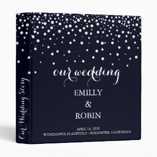 Confetti White Dots Elegant Navy Blue Wedding Vinyl Binders
