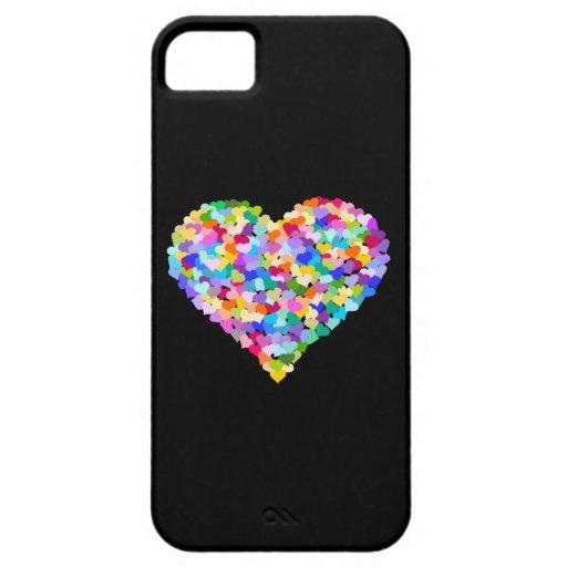 Confettis de coeurs d'arc-en-ciel étuis iPhone 5
