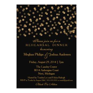 Confettis de scintillement d'or d'invitation de carton d'invitation  12,7 cm x 17,78 cm