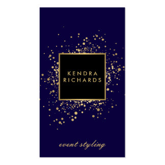 Confettis dispersés d'or de Faux sur le bleu Carte De Visite Standard