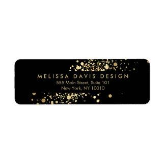 Confettis d'or de Faux sur l'étiquette de adresse Étiquette D'adresse Retour