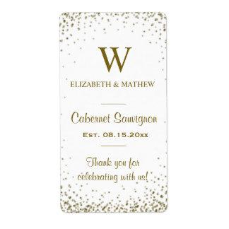 Confettis d'or d'étiquette de vin étiquette d'expédition