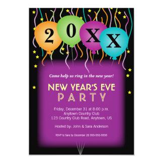 Confettis et ballons, nouvelles années de partie carton d'invitation  12,7 cm x 17,78 cm