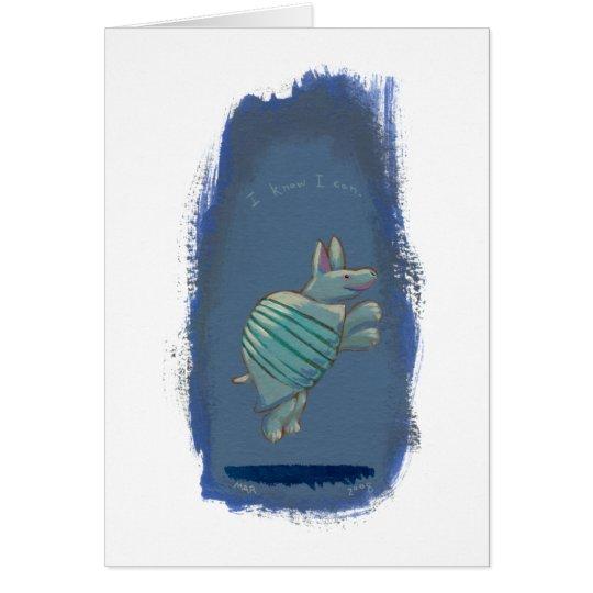 Confident armadillo leaping fun cute unique art card