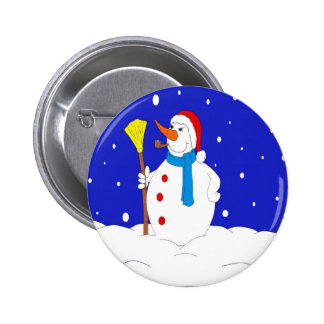 Confident-Snow-Man-Scene 2 Inch Round Button