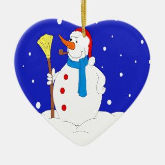 Confident-Snow-Man-Scene Ceramic Heart Ornament