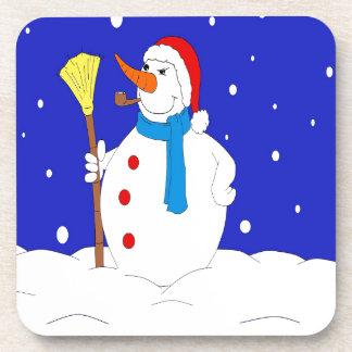 Confident-Snow-Man-Scene Drink Coaster