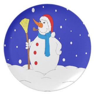 Confident-Snow-Man-Scene Plate