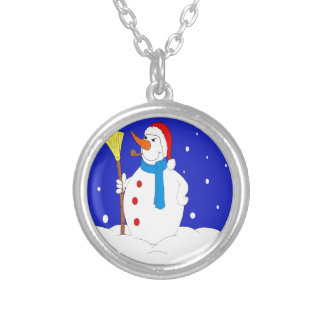 Confident-Snow-Man-Scene Silver Plated Necklace