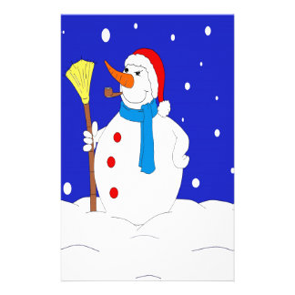 Confident-Snow-Man-Scene Stationery Design