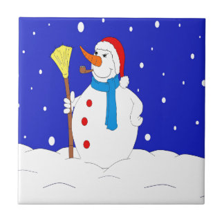 Confident-Snow-Man-Scene Tile