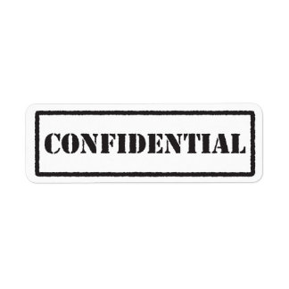 Confidential black stamp label