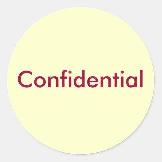Confidential Classic Round Sticker