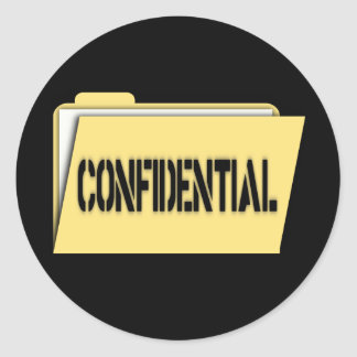 Confidential Folder With Paper Classic Round Sticker