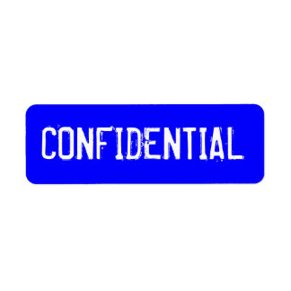 CONFIDENTIAL in white text on blue background