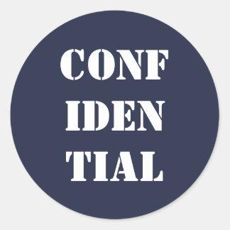 Confidential office envelope dark blue and white classic round sticker