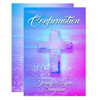 Confirmation Crystal Rainbow Cross Card
