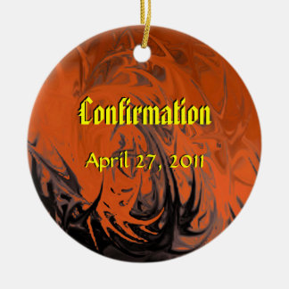 Confirmation (dancing flames) round ceramic ornament