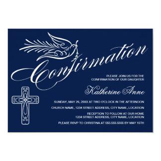 Confirmation de calligraphie avec la croix et la carton d'invitation  12,7 cm x 17,78 cm